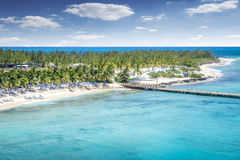 Aerial view of Grand Turk island. And caribbean sea Stock Image