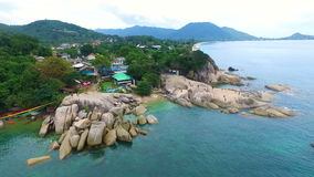 Aerial View at Grandmother and Grandfather Rocks on Samui island. Shot with a DJI Phantom 3 FHD 29fps stock video