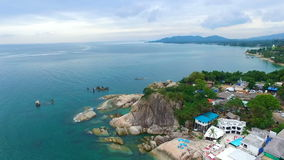 Aerial View at Grandmother and Grandfather Rocks on Samui island. Shot with a DJI Phantom 3 FHD 29fps stock video footage