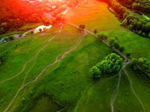 Aerial view of grassland, trees and shrubs with a network of sma. Ll paths and hiking trails in spring with fresh green foliage Royalty Free Stock Photography