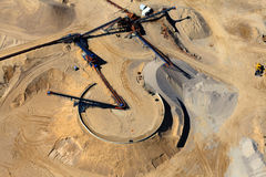 Aerial view of gravel mine Royalty Free Stock Image