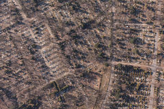 Aerial view of  graveyard Royalty Free Stock Photo