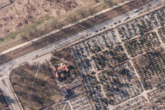 Aerial view of  graveyard Royalty Free Stock Photography