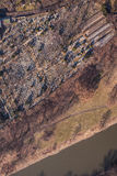 Aerial view of  graveyard Stock Photo