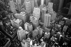 Aerial View and Grayscale Photography of High-rise Buildings royalty free stock image