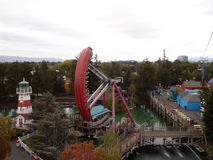 Aerial view of Great America theme park featuring the Pirate shi Stock Images
