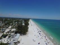 Anna Maria Island FL. Aerial view of a great beach in Anna Maria Island in Florida. Showcases a beautiful beach and clear blue sea Stock Photos