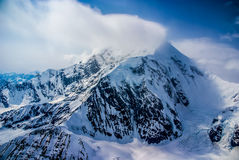 Dramatic View of the Peak of Snowy Mount McKinley, Alaska. Royalty Free Stock Photos