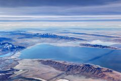Aerial view of the Great Salt Lake, Utah. An aerial view of the Great Salt Lake, the famous Utah landmark Stock Photography