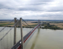 Aerial view of a great suspension bridge, France royalty free stock photos