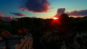 Aerial view of Great wall of China, timelapse sunrise stock video footage