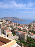Aerial view on Greek island. Aerial view of Greek city. Sea and mountain in island of Symi Stock Photo