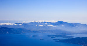 Aerial view of Greek islands stock photography