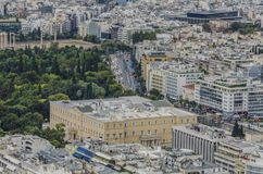 Aerial view greek parliament royalty free stock images
