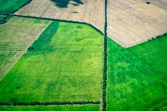 Aerial view of green fields. Aerial view of green agriculture fields stock images