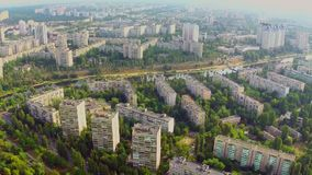 Aerial view of green city residential area and beautiful river. Stock footage stock video