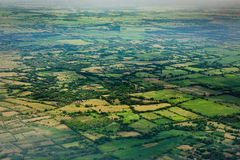 Aerial view of green cultivated fields on island of Roatan, Honduras Royalty Free Stock Image