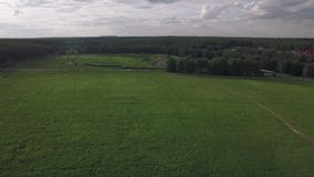 Flying over green field and rural road near the village, Russia. Aerial view green field with country road running from the village to the construction site stock video footage