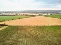 Aerial view of green fields and blue sky with clouds. Czech Republic stock images