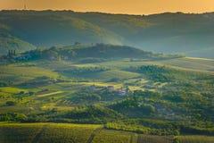 Green hills in Istria region, Croatia. Aerial view at green fields in Istria region, famous croatian travel places stock image