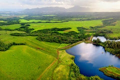 Aerial view of green fields on Kauai, Hawaii Stock Image