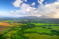 Aerial view of green fields on Kauai, Hawaii Stock Images