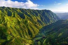 Aerial view of green fields on Kauai, Hawaii. Stunning aerial view of spectacular jungles, Kauai, Hawaii Stock Images