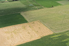 Aerial view of green fields in rural landscape. Aerial view of rural landscape, green fields and harvested royalty free stock image