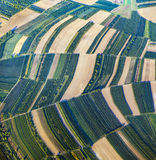 Aerial view of green fields and slopes Royalty Free Stock Images