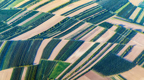 Aerial view of green fields and slopes royalty free stock image