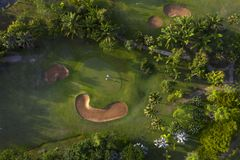 Aerial view of the green golf course in Thailand. Aerial view of the green golf course in Asia and Thailand royalty free stock photography