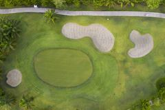 Aerial view of the green golf course in Thailand. Aerial view of the green golf course in Asia and Thailand stock image