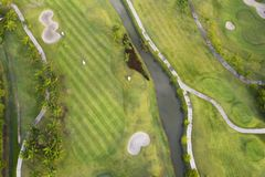 Aerial view of the green golf course in Thailand. Aerial view of the green golf course in Asia and Thailand stock photography