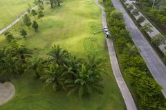 Aerial view of the green golf course in Thailand. Aerial view of the green golf course in Asia and Thailand royalty free stock photos