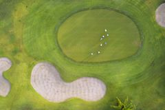 Aerial view of the green golf course in Thailand. Aerial view of the green golf course in Asia and Thailand royalty free stock images