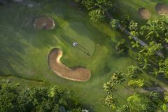 Aerial view of the green golf course in Thailand. Aerial view of the green golf course in Asia and Thailand stock images