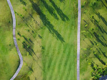 Aerial view of the green golf course in Thailand. Aerial view of the green golf course in Chiang mai, Thailand Royalty Free Stock Photos