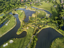 Aerial view of the green golf course in Thailand. Stock Photography