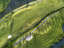 Aerial view of the green golf course in Thailand. Stock Images