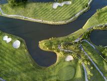 Aerial view of the green golf course in Thailand. Royalty Free Stock Photography