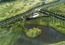 Aerial view of the green golf course in Thailand. Royalty Free Stock Photo