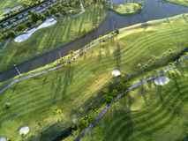 Aerial view of the green golf course in Thailand. Stock Photos
