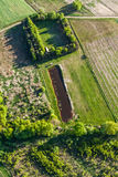 Aerial view of green  harvest fields Royalty Free Stock Images