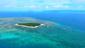 Aerial view of Green Island reef at the Great Barrier Reef Queen Royalty Free Stock Images