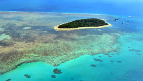 Aerial view of Green Island reef at the Great Barrier Reef Queen Stock Images