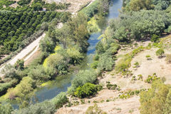 Aerial view of a green landscape with river, Spain Stock Image