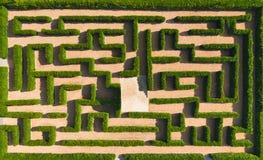 Aerial view of Green maze garden.  nature background