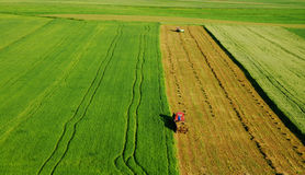 Aerial view of green meadow Stock Images