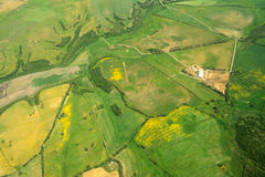 Aerial view of green meadows in Sardinia Stock Photo