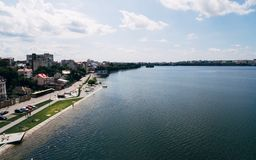 Aerial view of the green picturesque town on the shore of the lake. Ternopil. Ukraine. The concept of a healthy lifestyle stock image